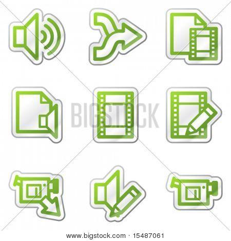 Audio video edit web icons, green contour sticker series