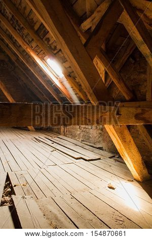 Wooden Beams In Old Loft /  Roof Before Construction