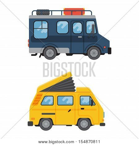 Camping trailer truck vehicle house standing vector, nature holiday trailer house truck concept. Trailer house vector and mobile car park caravan. Trailer house travel camper vehicle.