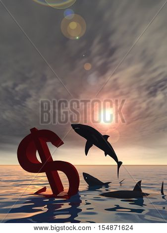 Conceptual 3D illustration bloody dollar symbol or sign sinking in water or sea, with black sharks eating , metaphor or concept for crisis in US