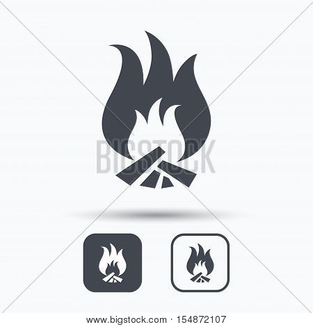 Fire icon. Blazing bonfire flame symbol. Square buttons with flat web icon on white background. Vector