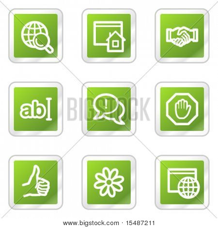 Internet web icons, green square sticker series