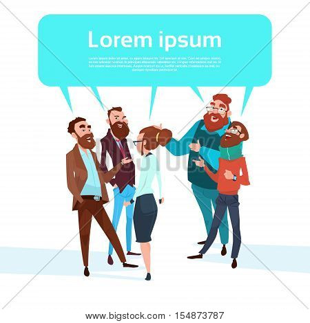 Business People Group Chat Bubble Businesspeople Talking Discussing Communication Flat Vector Illustration