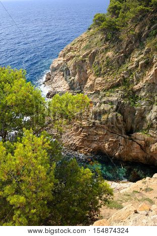 View of the Tossa de Mar coastline from the medieval walled town Vila Vella, Catalonia, Spain