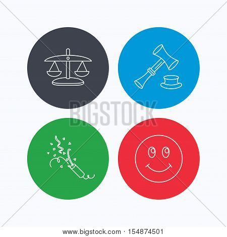Scales of justice, auction hammer and slapstick icons. Smiling face linear sign. Linear icons on colored buttons. Flat web symbols. Vector