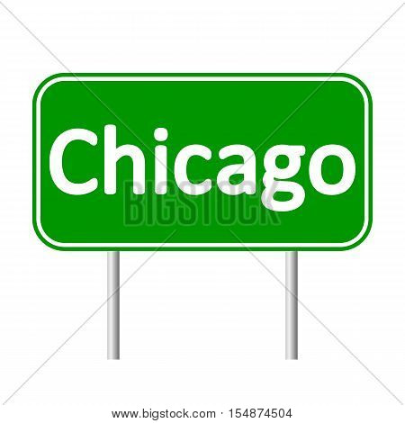 Chicago green road sign isolated on white background