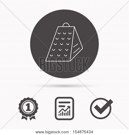 Grater icon. Kitchen tool sign. Kitchenware slicer symbol. Report document, winner award and tick. Round circle button with icon. Vector