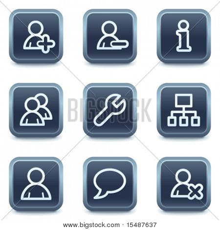 Users web icons, mineral square buttons series