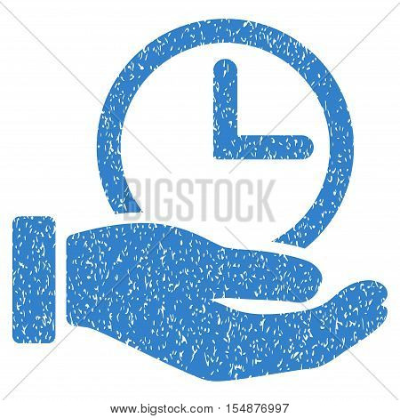 Time Service Hand grainy textured icon for overlay watermark stamps. Flat symbol with dirty texture. Dotted vector cobalt ink rubber seal stamp with grunge design on a white background.