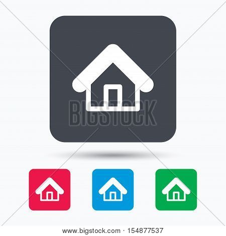 Home icon. House building symbol. Real estate construction. Colored square buttons with flat web icon. Vector