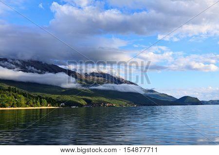 Sunny summer day at the beautiful Lake Ohrid in Macedonia