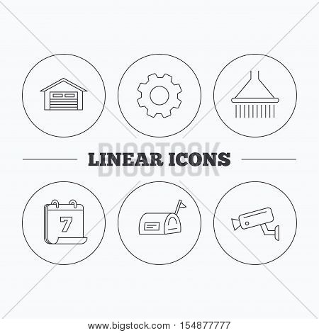 Mailbox, video monitoring and garage icons. Shower linear sign. Flat cogwheel and calendar symbols. Linear icons in circle buttons. Vector