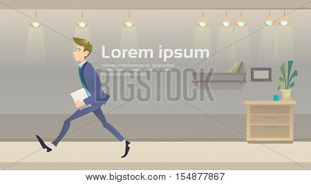 Walking Hurry Business Man Go Office Interior Make Step Flat Vector Illustration