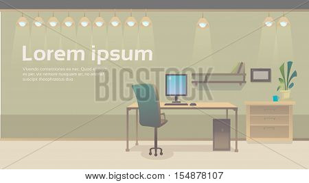 Empty Workplace Desk Chair Computer Workspace Office Interior No People Flat Vector Illustration poster