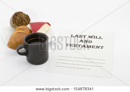 Work on Last Will and Testament next to hot coffee mug bread and cheese. Concept of meeting family responsibilities. Horizontal photo with copy space.
