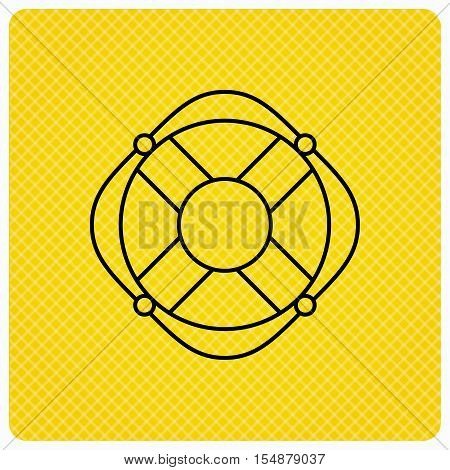 Lifebuoy with rope icon. Lifebelt sos sign. Lifesaver help equipment symbol. Linear icon on orange background. Vector