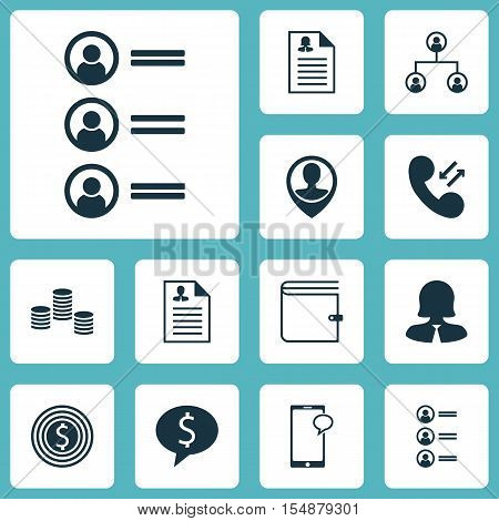 Set Of Human Resources Icons On Business Deal, Wallet And Job Applicants Topics. Editable Vector Ill