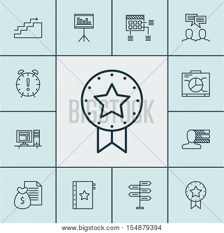 Set Of Project Management Icons On Opportunity, Present Badge And Presentation Topics. Editable Vect