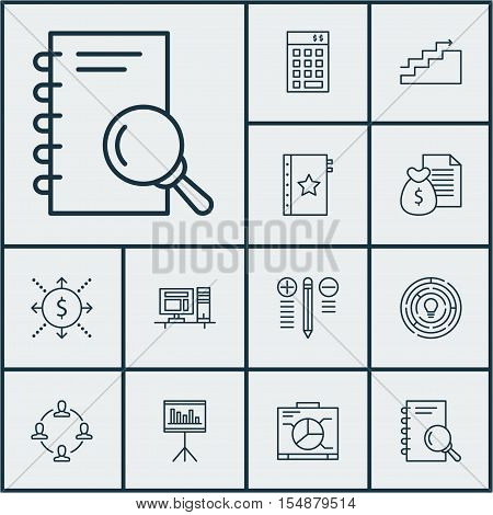 Set Of Project Management Icons On Report, Growth And Collaboration Topics. Editable Vector Illustra