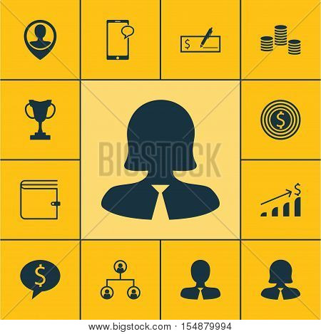 Set Of Hr Icons On Tree Structure, Wallet And Messaging Topics. Editable Vector Illustration. Includ