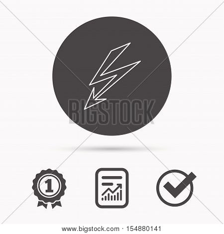 Lightening bolt icon. Power supply sign. Electricity symbol. Report document, winner award and tick. Round circle button with icon. Vector