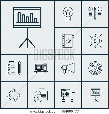 Set Of Project Management Icons On Announcement, Computer And Warranty Topics. Editable Vector Illus