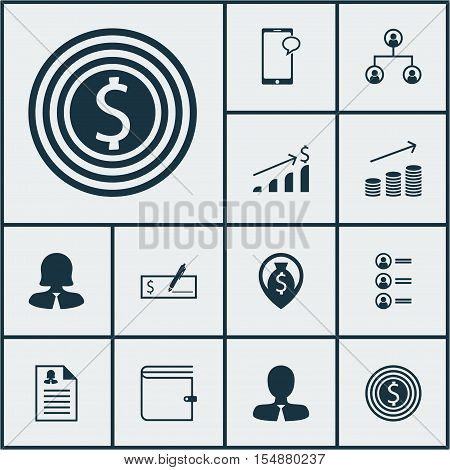 Set Of Management Icons On Successful Investment, Business Woman And Job Applicants Topics. Editable