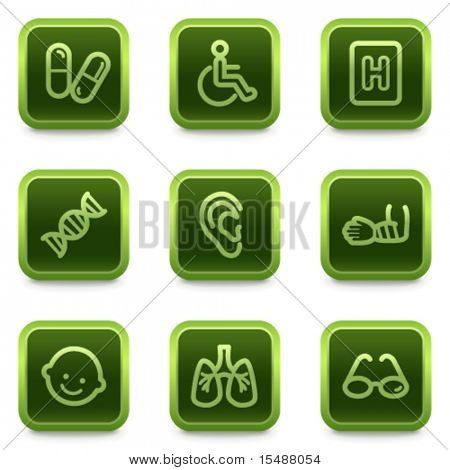 Medicine web icons set 2, green square buttons series