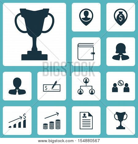 Set Of Management Icons On Employee Location, Phone Conference And Curriculum Vitae Topics. Editable