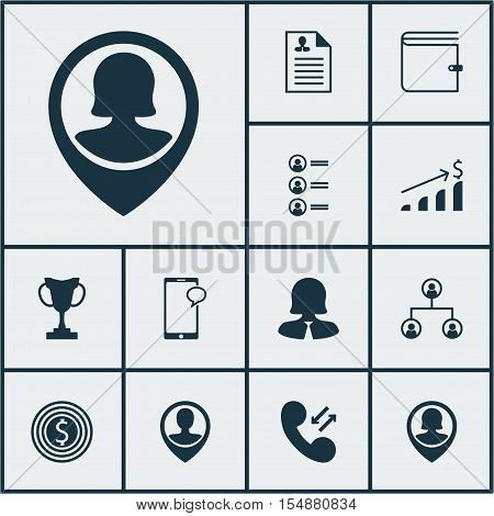 Set Of Management Icons On Business Goal, Job Applicants And Cellular Data Topics. Editable Vector I