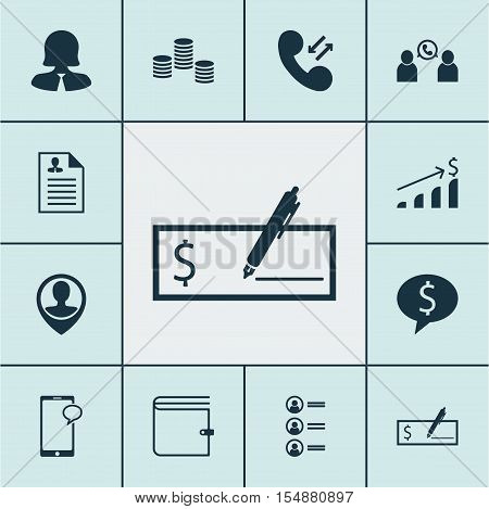 Set Of Hr Icons On Bank Payment, Cellular Data And Business Deal Topics. Editable Vector Illustratio