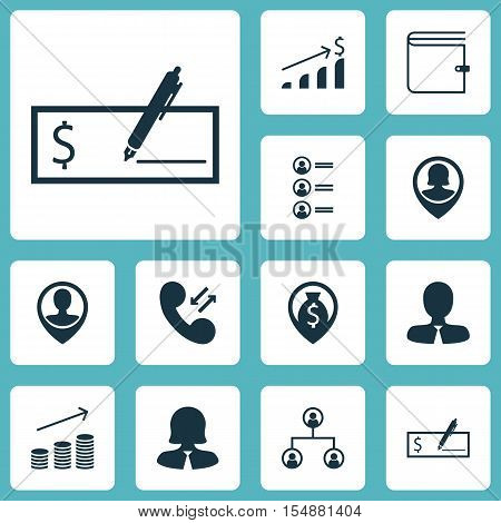 Set Of Management Icons On Wallet, Job Applicants And Successful Investment Topics. Editable Vector