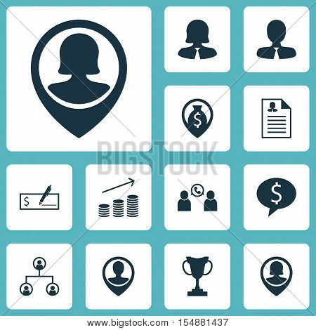 Set Of Management Icons On Pin Employee, Business Deal And Coins Growth Topics. Editable Vector Illu
