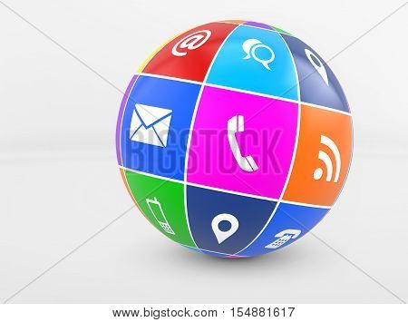 Contact us web icons and online connection symbols on a globe 3D illustration.