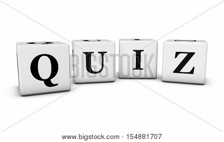 Quiz word and sign on cubes 3D illustration on white background.