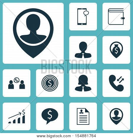 Set Of Management Icons On Employee Location, Business Deal And Wallet Topics. Editable Vector Illus