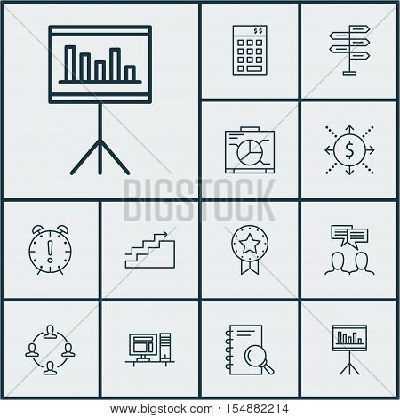 Set Of Project Management Icons On Time Management, Board And Discussion Topics. Editable Vector Ill