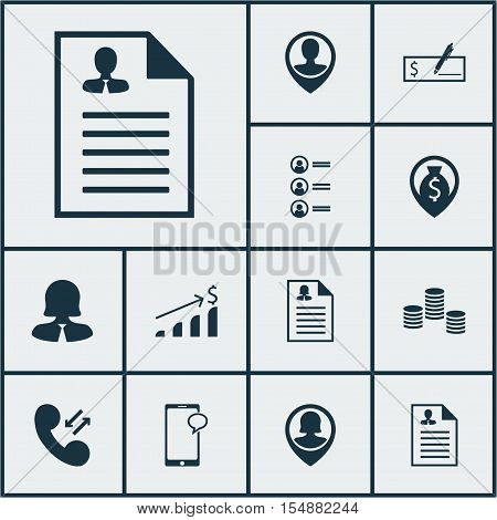 Set Of Management Icons On Money, Pin Employee And Employee Location Topics. Editable Vector Illustr