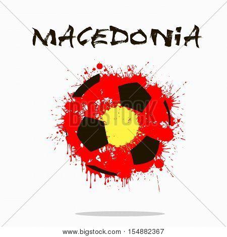 Abstract soccer ball painted in the colors of the Macedonia flag. Vector illustration