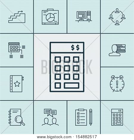 Set Of Project Management Icons On Schedule, Reminder And Analysis Topics. Editable Vector Illustrat