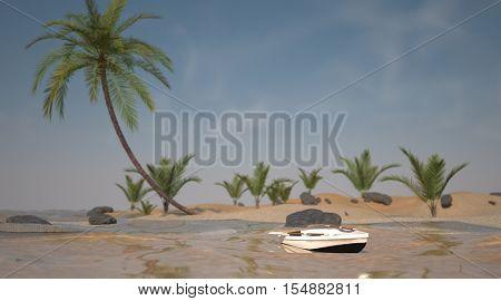 3d illustration of the tropic island shore