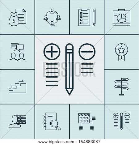 Set Of Project Management Icons On Board, Growth And Schedule Topics. Editable Vector Illustration.
