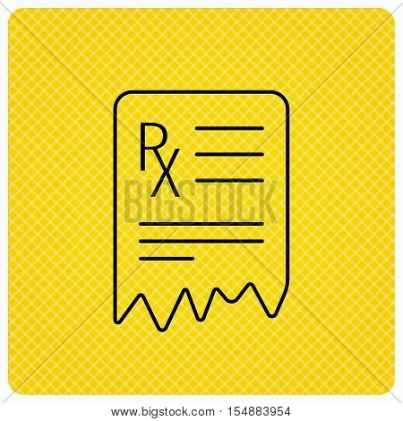 Medical prescription icon. Health document sign. Linear icon on orange background. Vector
