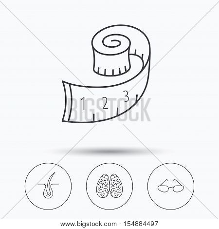 Glasses, neurology and trichology icons. Weight loss linear sign. Linear icons in circle buttons. Flat web symbols. Vector