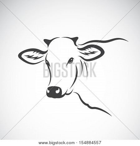 Vector image of a cow head design on white background Vector cow logo. Farm Animals.