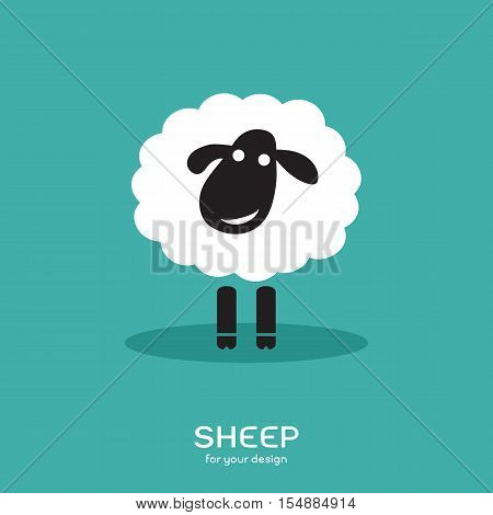 Vector image of a sheep design on bluel background Farm Animals.