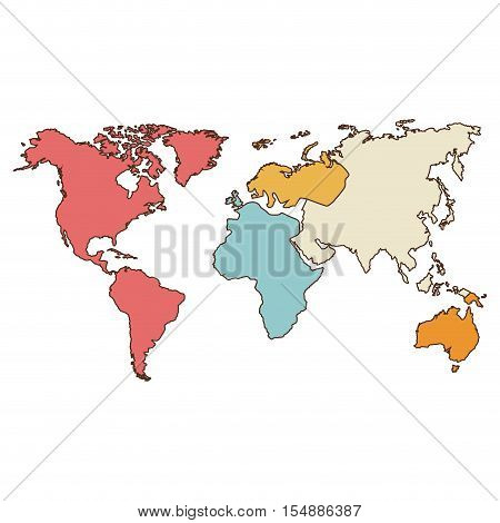 world map icon. atlas worldwide over white background. colorful design. vector illustration