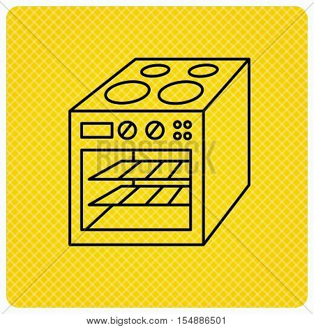 Oven icon. Electric stove sign. Linear icon on orange background. Vector