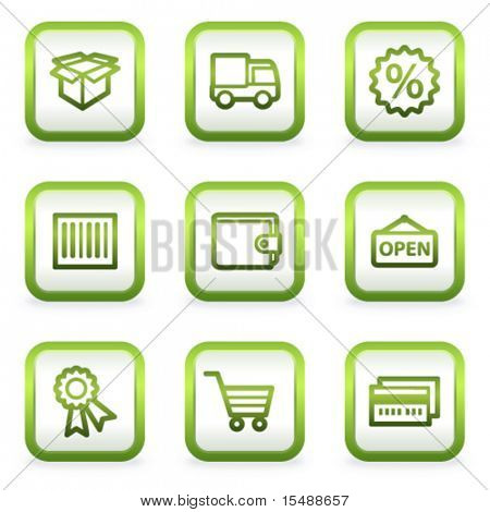 Shopping web icons set 2, square buttons, green contour