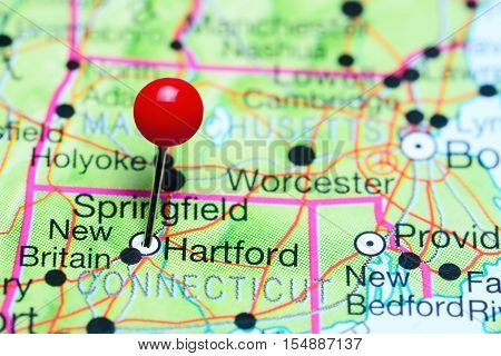 Hartford pinned on a map of Connecticut, USA